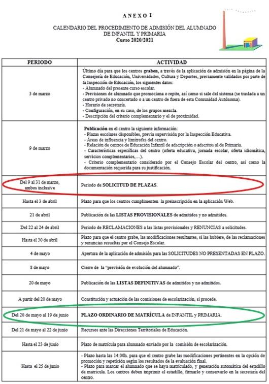 CALENDARIO DEL PROCEDIMIENTO DE ADMISIÓN DEL ALUMNADO DE INFANTIL Y PRIMARIA